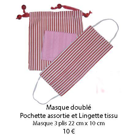 671 masque double pochette assortie et lingette tissu