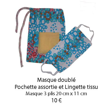 672 masque double pochette assortie et lingette tissu