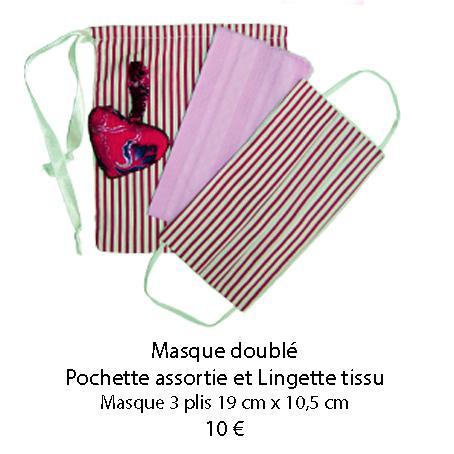 676 masque double pochette assortie et lingette tissu