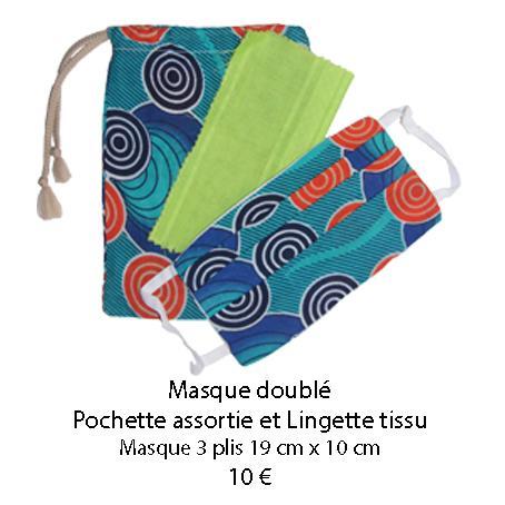 677 masque double pochette assortie et lingette tissu