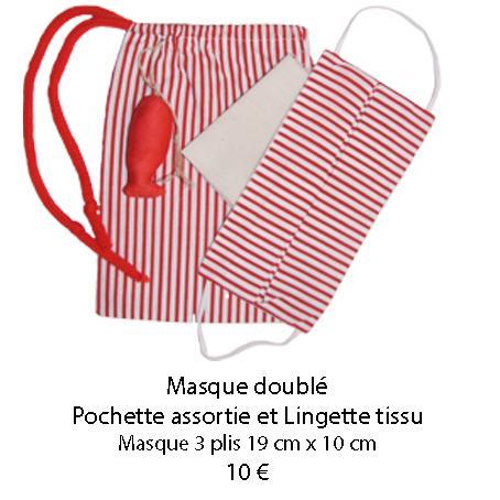 682 masque double pochette assortie et lingette tissu