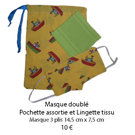 691 masque double pochette assortie et lingette tissu