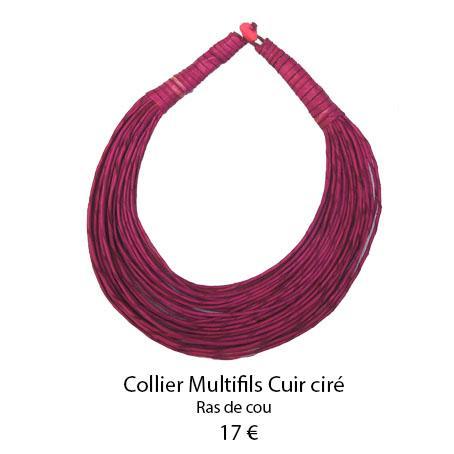 1097 collier multifils cuir