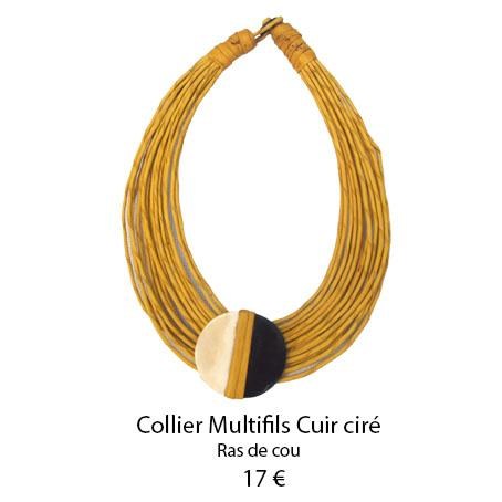 1101 collier multifils cuir