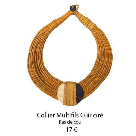 1103 collier multifils cuir