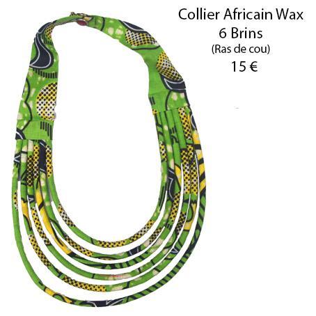 1118 collier africain wax 6 brins