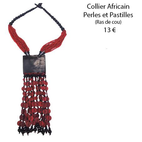 1120 collier africain perles et pastilles