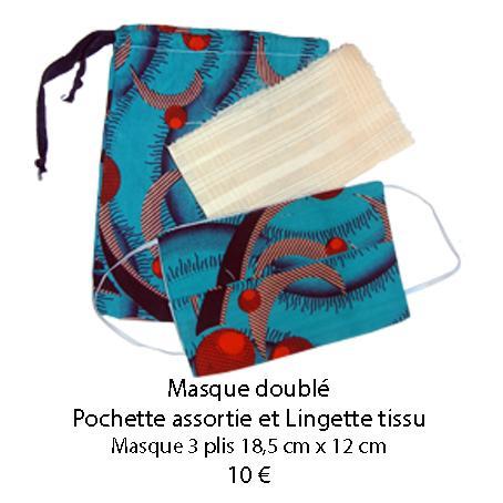 683 masque double pochette assortie et lingette tissu