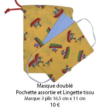 688 masque double pochette assortie et lingette tissu