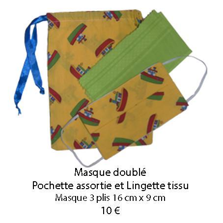 689 masque double pochette assortie et lingette tissu